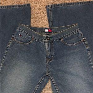 Y2K 2000s Tommy Hilfiger split flare denim jeans